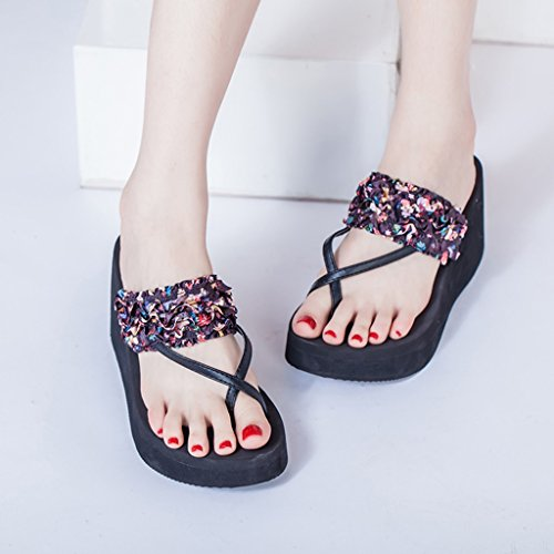 Sandals Female Summer Fashion Outer Wear Seaside Slope High Heels Clip Toe Slippers Thick Heel Shoes Black 1Tu8pUJHk7