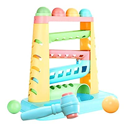 NUOBESTY Pound Roll Baby Ball Drop and Roll Activity Toy with Toy Hammer Balls for Kids Educational Toy Birthday Party Favor Gifts (Assorted Color): Toys & Games