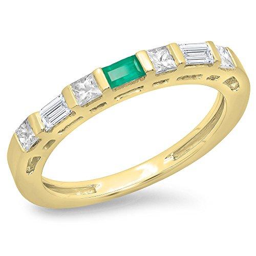 Dazzlingrock Collection 14K Baguette Emerald & Princess & Baguette Diamond Ladies Wedding Band Ring, Yellow Gold, Size - Baguette Diamond Wedding Princess Band