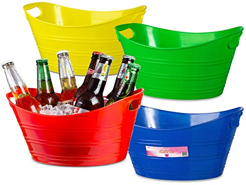 4 Pack - Oval Storage Tub with Handles, Colorful Classroom Organization Bins, Plastic Ice Bucket, Party Beverage Chiller Tub, 4.5L, Assorted Colored ()
