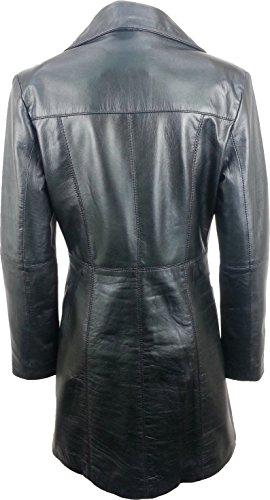 UNICORN Femmes Trois-quarts Longueur Manteau - Réel cuir veste - Noir #GN