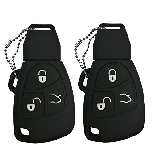2Pcs Coolbestda Rubber 3 Buttons Smart Key Fob Remote Cover Case Protector Keyless Jacket for Mercedes benz Class A C E S ML CLK SLK C200 E320 350 CLS Black
