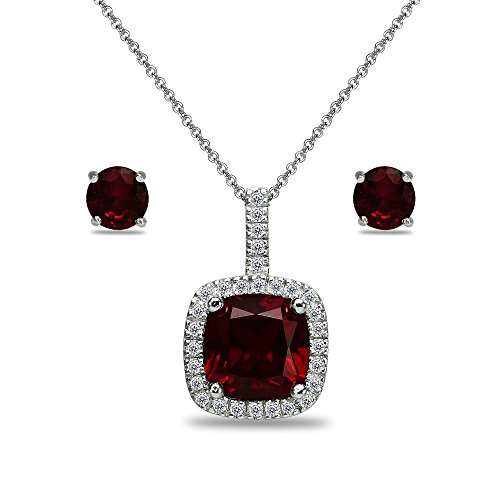 Sterling Silver Garnet and White Topaz Cushion-Cut Pendant Necklace & Stud Earrings Set