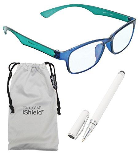 True Gear iShield Anti Reflective Coated Glasses - Rectangular Frame (Clear) - Blue/Green