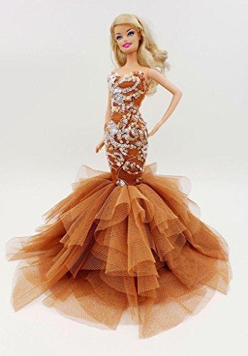 Cora Gu Classic Brown Sequin Mermaid Dress/Gowns For Barbie Doll/ Silkstone Doll /Girl's 'Present/Barbie Dress by Cora Gu