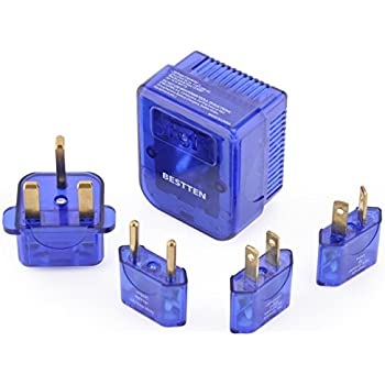 Bestten 1875W Voltage Converter Transformer and Travel Plug Adapter Combo. Step Down 220v To 110v (UK, Europe, China, Austrilia, Middle East, South America, Japan, Caribbean, Africa to USA) 5pc Pack