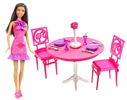 Barbie Doll & Dining Room Gift Set, Brunette