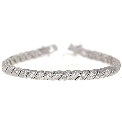 Decadence Sterling Silver Rhodium Baguette Pave 7