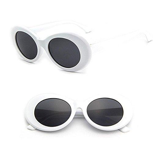 Gray ovaladas gafas 2018 Aolvo sol grueso marco Black mujeres retro para sol con y niñas unisex Clout de ovaladas Gray White de y Gafas HIwCxIq1v