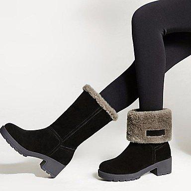 Las mujeres Botas de cuero auténtico confort PU Invierno confort informal caqui plana negra Khaki