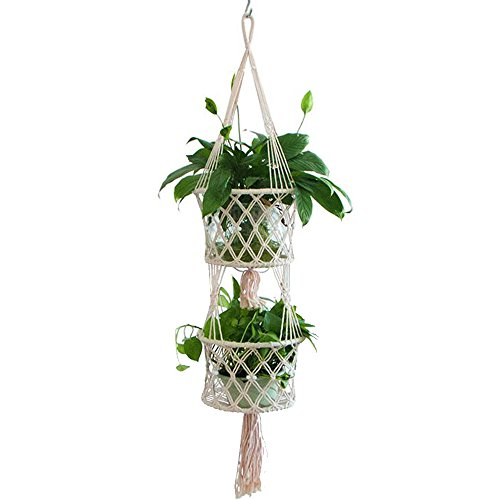 Casolly Planter Hanging Basket Macrame Cotton Rope Plant Holder for Indoor/Outdoor Decor 49 inches,1 Pack by Casolly