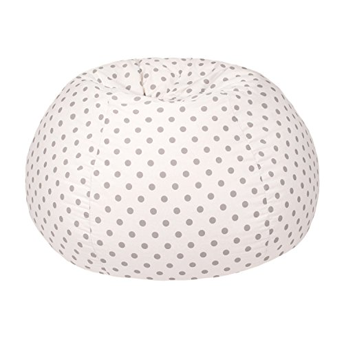 Gold Medal Bean Bags Small/Toddler Polka Dot Print Bean Bag, White and Grey