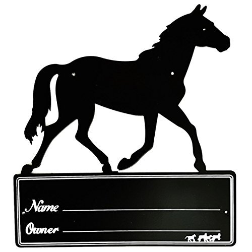 Hill Leather Company Black Heavy Duty Steel Large Horse Stall Stable Name Plate by Hill Leather Company