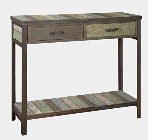 Rustic Console Table with 2 Drawers, 1 Storage Shelf, Metal Legs, Solid Wood Country Style Sofa Table, Multi Colored top and Shelf for Farmer House, Living Room,Hallway,Entryway,35.5x12x31.5inches ()