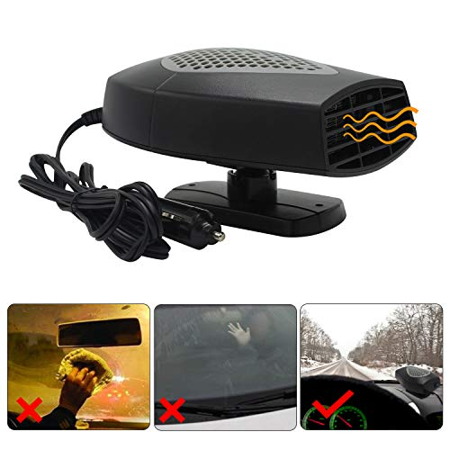 Defroster Heater - Windshield Car Heater - Portable Car Defroster Defogger 12V Truck Car Heat Cooling Fan 150W 3-Outlet Plug in Cigarette Lighter (12V Vehicle)