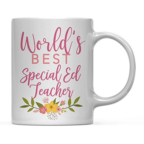 (Andaz Press 11oz Coffee Mug Teacher Gag Gift, Floral Flowers Design, World's Best Special Ed Teacher, 1-Pack, Funny Witty Coffee Cup Birthday Christmas Graduation Present Ideas for Her)