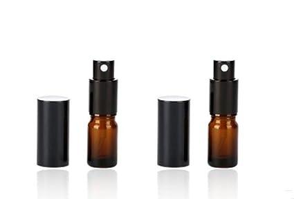 2pcs Ámbar Botella de vidrio vacía atomizador botella redonda botella de cristal con atomizador de negro