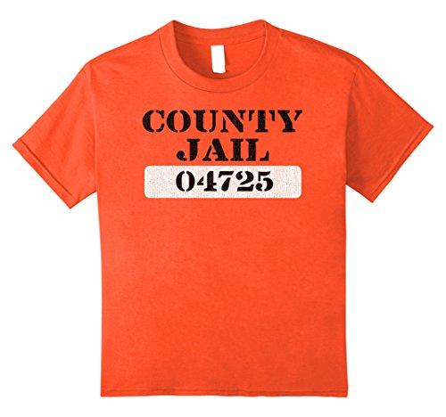 [Kids County Jail  T Shirt Distressed Look 10 Orange] (Jail Costume For Kids)