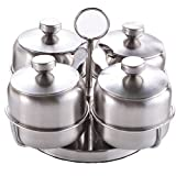 Amhuui Stainless Steel Condiment Seasoning Jars Container Pots 4Pcs / Set Stainless Steel Rotating Sugar Bowl Jar Condiment Seasoning Spice Container Canister Cruet with Lid and Spoon