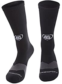 Soccer Socks - Youth Sizes for Kids 3-16 - by DashSport - All Sports Soccer Lacrosse Baseball - Cuff Top - Ankle and Arch Support - Padded Sole