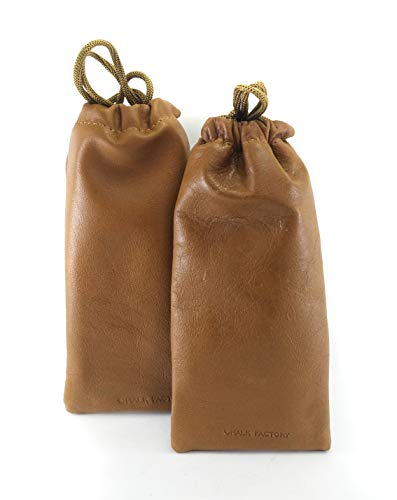 Chalk Factory Lambskin Leather Drawstrings Pouch Tan, 9 cm X 15 - Drawstring Lambskin