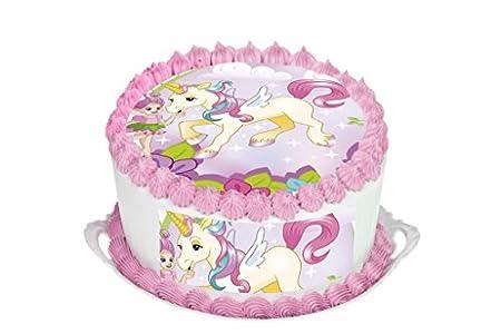 Unicorn 115quot Inch Round Circular Edible Cake Topper Decoration