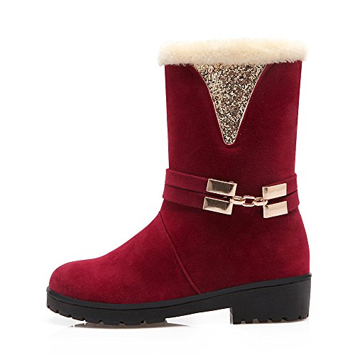 Womens Lining on AIWEIYi Slip Snow Red Fur Boots Boots Warm Keep Heavy Winter fqTZqw