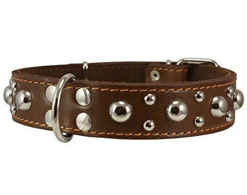 Genuine 1.5″ Wide Thick Leather Studded Dog Collar. Fits 17″-21.5″ Neck, Large Breeds.