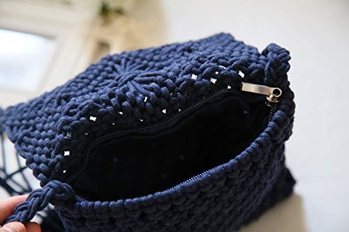 verano la playa solo un de de Azul hombro la tejido del Bolso de bolso de paja KuanDar la la simple de borla borla OHqf1x