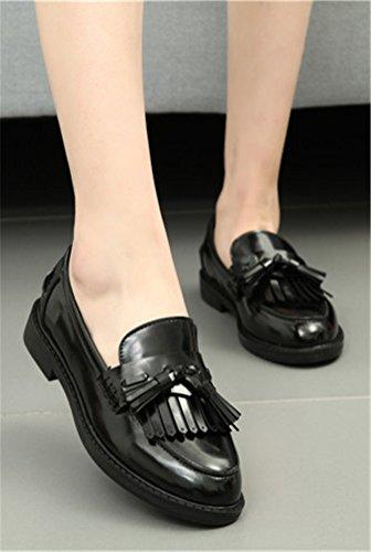 Oxford Schoenen Vrouwen Lage Hak, Platform Dames Schooluniform Jurk Schoen Werk Gebruik Anti-slip Vintage Londen Zwart