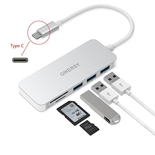 """41SIk1IOzGL. SS500 Haz clic aquí para comprobar si este producto es compatible con tu modelo 5-IN-1 Multi-Port HUB: Contiene un lector de tarjetas SD, un lector de tarjetas Micro SD (TF) y tres puertos USB 3.0. Para agregar ranura para tarjetas y puertos USB a su MacBook 12, MacBook Pro 13 """"2016/2017 y MacBook Pro 15"""" 2016/2017, y otros portátiles con puerto USB-C TRANSFERENCIA DE DATOS DE ALTA VELOCIDAD: Conecte hasta tres dispositivos USB simultáneamente mientras transfiere datos de la tarjeta SD / TF (una tarjeta a la vez) .USB3.0 transmisión de datos super alta velocidad / acceso a archivos, velocidad de transmisión: hasta 5 Gbp / s"""
