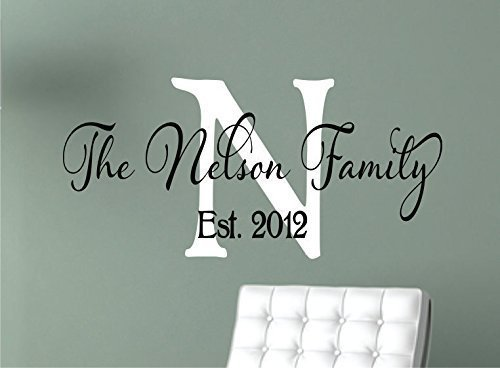 Amazoncom Family Wall Decals Personalized Name Wall Decal - Monogram vinyl wall decals