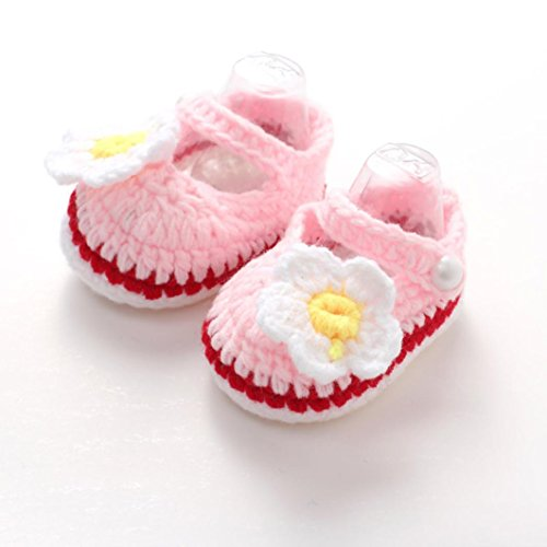 Hemlock Baby Girls Crochet Shoes Handmade Soft Knit Shoes (Free, Pink2)