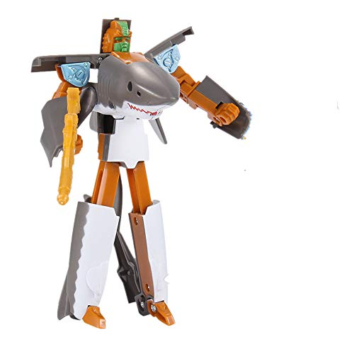JPJ(TM)1pcs Children's Hot Fashion Toy Transformer Robot Shark Ocean Anime Figurine Gift for Christmas (Gray) ()