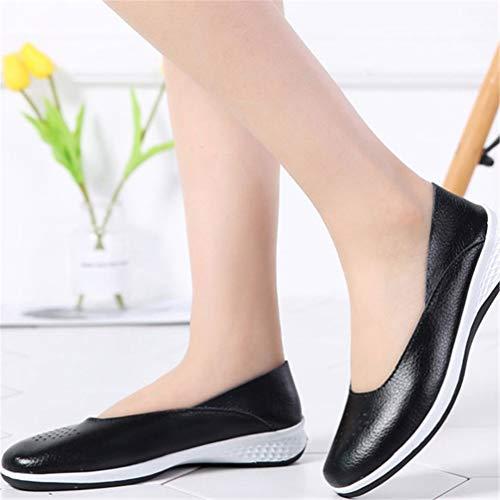 De Noir Slip Mocassin Mocassins Casual Sur Bateau Flats Travail Chaussures Souliers Bleu Noirs Dames Femmes 7f7wqCBSx
