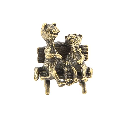 Two Cats on the bench Bronze statue Handmade Figure