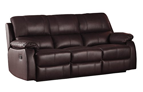 Homelegance Jedidiah Double Reclining Sofa with Top Grain Leather Match, Chocolate