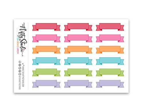 Ribbon Stickers Light | Planner Stickers | 1 sheet of 18 stickers | The Nifty Studio [154] ()