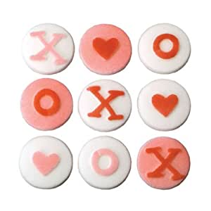 Valentines Day X O Hearts Sugar Decorations Cookie Cupcake Cake 12 Count