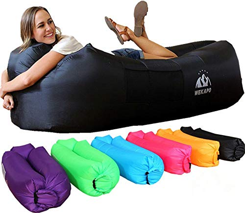 - WEKAPO Inflatable Lounger Air Sofa Hammock-Portable,Water Proof& Anti-Air Leaking Design-Ideal Couch for Backyard Lakeside Beach Traveling Camping Picnics & Music Festivals (Black)