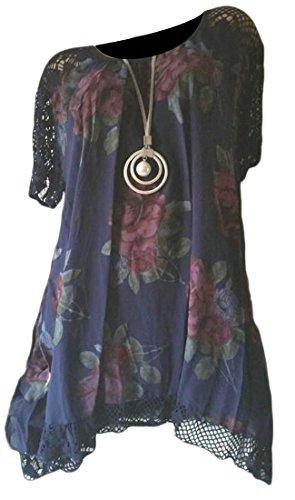 Floreale Size Stampa Dall'oscillazione Plus Navy Blu Pizzo Cuciture Di Girocollo Irregolare Womens Cromoncent Vestito azqCwUxwE