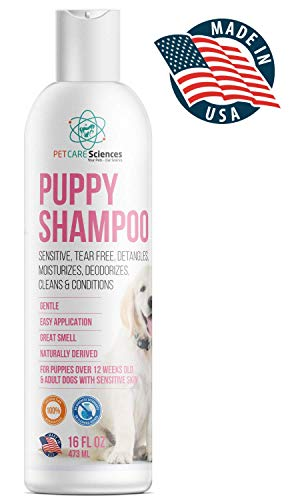 PET CARE Sciences Puppy Shampoo - Gentle Sensitive Tearless - Coconut Oil, Oatmeal & Aloe - Dog Shampoo and Conditioner - Made in The USA - 16 FLOZ