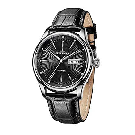 Reef Tiger Steel Automatic Watches Men s Leather Strap Dress Watch with Date Day RGA8232