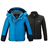 Wantdo Boys Windproof Fleece Lined Jacket Waterproof Snowboarding Parka Blue 8