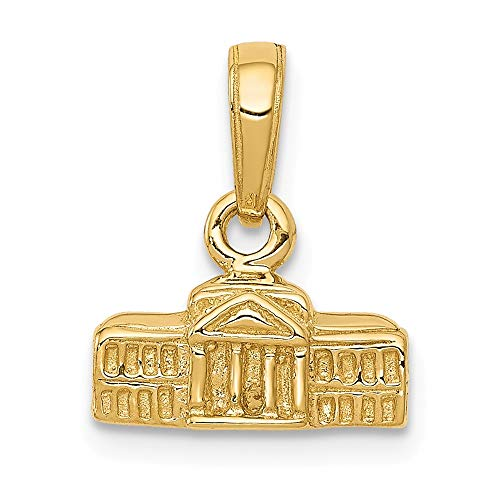 14k Yellow Gold 3 D White House Pendant Charm Necklace Travel Transportation Fine Jewelry Gifts For Women For Her ()