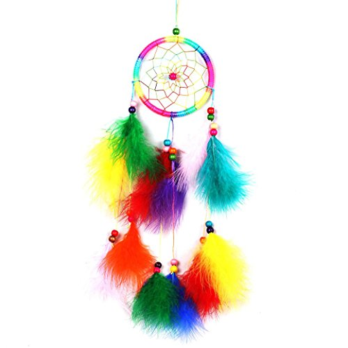 Chimes, Kemilove Handmade Indian Peacock Dreamcatcher Wind Chimes Indian Style Feather Pendant Car Hanging Decoration gift (Colorfull)