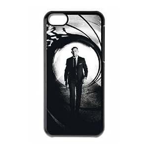 Plastic Case Kyonud iPhone 5C Cell Phone Case Black 007 James Bond Generic Design Back Case Cover