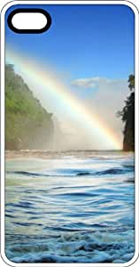 Rainbow In A Tropical Paradise Setting White Plastic Case for Apple iPhone 5 or iPhone 5s