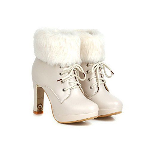 Closed Heels up Allhqfashion Women's Solid Soft Beige Toe Round High Material Lace Boots XRqA4RZw6