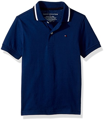 S/s Tipped Collar - Tommy Hilfiger Big Boys' Short Sleeve Performance Polo with Tipped Collar, Estate Blue, Small